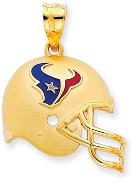NFL Houston Texans Helmet Pendant with Enamel, 14K Yellow Gold (Apples of Gold)