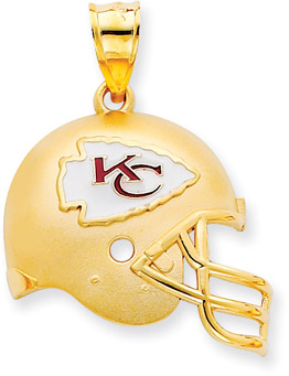 Buy NFL Kansas City Chiefs Helmet Pendant with Enamel, 14K Yellow Gold