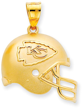 NFL Kansas City Chiefs Helmet Pendant, 14K Yellow Gold (Apples of Gold)