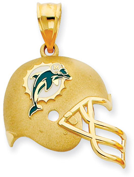 Buy NFL Miami Dolphins Helmet Pendant, 14K Yellow Gold