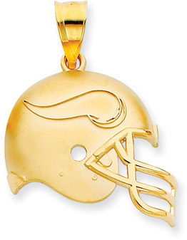 Buy NFL Minnesota Vikings Helmet Pendant with Enamel, 14K Yellow Gold