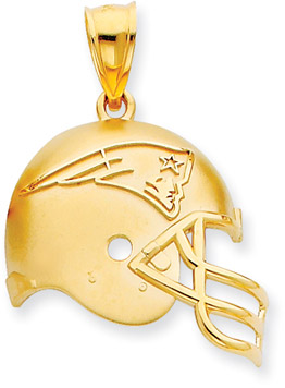 Buy NFL New England Patriots Helmet Pendant with Enamel, 14K Yellow Gold