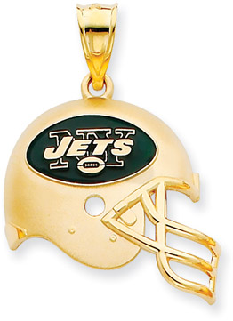 Buy NFL New York Jets Helmet Pendant with Enamel, 14K Yellow Gold