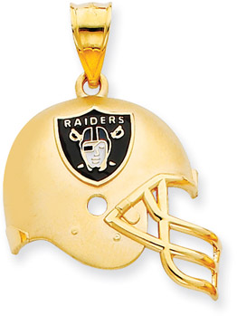 Buy NFL Oakland Raiders Helmet Pendant with Enamel, 14K Yellow Gold