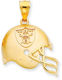 NFL Oakland Raiders Helmet Pendant, 14K Yellow Gold (Apples of Gold)