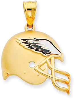 Buy NFL Philadelphia Eagles Helmet Pendant with Enamel, 14K Yellow Gold