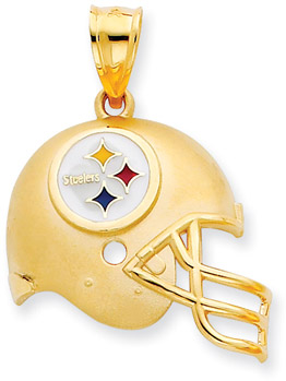 Buy NFL Pittsburgh Steelers Helmet Pendant with Enamel, 14K Yellow Gold