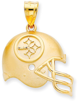 NFL Pittsburgh Steelers Helmet Pendant, 14K Yellow Gold (Apples of Gold)