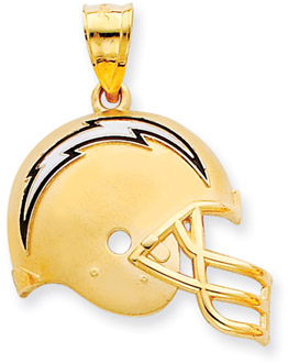 Buy NFL San Diego Chargers Helmet Pendant with Enamel, 14K Yellow Gold