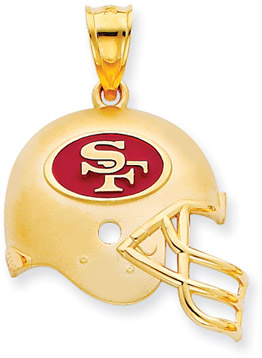 Buy NFL San Francisco 49ers Helmet Pendant with Enamel, 14K Yellow Gold