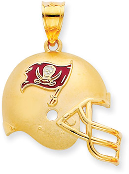 NFL Tampa Bay Buccaneers Helmet Pendant with Enamel, 14K Yellow Gold (Apples of Gold)