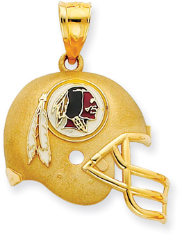 Buy NFL Washington Redskins Helmet Pendant with Enamel, 14K Yellow Gold