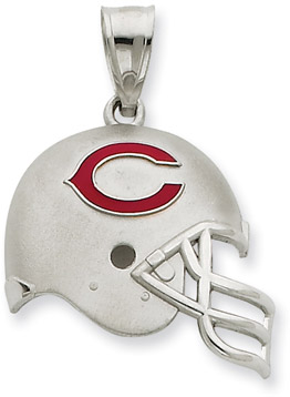 Sterling Silver Chicago Bears NFL Helmet Pendant (Apples of Gold)