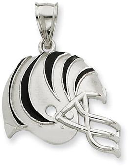 Sterling Silver Cincinnati Bengals NFL Helmet Pendant