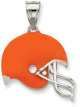 Sterling Silver Cleveland Browns NFL Helmet Pendant (Apples of Gold)