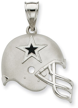 Sterling Silver Dallas Cowboys NFL Helmet Pendant (Apples of Gold)