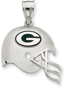 Sterling Silver Green Bay Packers NFL Helmet Pendant (Apples of Gold)