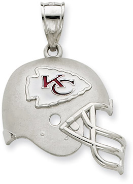 Sterling Silver Kasas City Chiefs NFL Helmet Pendant (Apples of Gold)