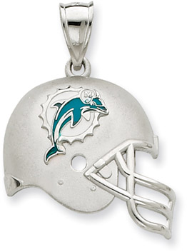 Sterling Silver Miami Dolphins NFL Helmet Pendant (Apples of Gold)