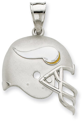Sterling Silver Minnesota Vikings NFL Helmet Pendant (Apples of Gold)