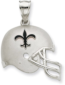 Sterling Silver New Orleans Saints NFL Helmet Pendant