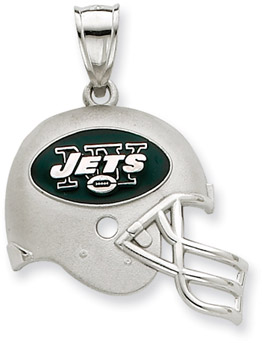 Sterling Silver New York Jets NFL Helmet Pendant (Apples of Gold)
