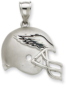 Sterling Silver Philadelphia Eagles NFL Helmet Pendant (Apples of Gold)