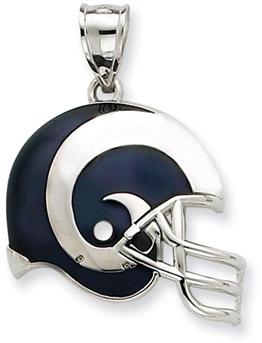 Sterling Silver St. Louis Rams NFL Helmet Pendant