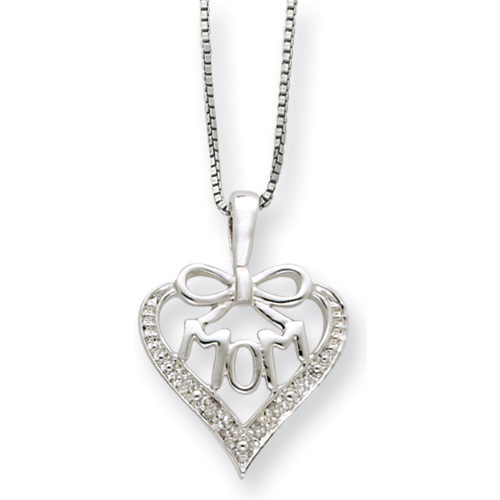 "Buy Sterling Silver and Diamond ""Mom"" Pendant"