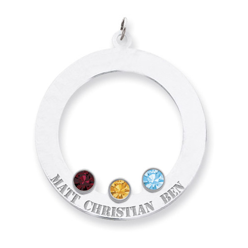 Sterling Silver Family Circle Pendant with 3 Stones