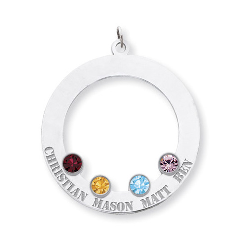Sterling Silver Family Circle Pendant with 4 Stones