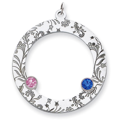 Sterling Silver Floral Circle Family Pendant with 2 Stones