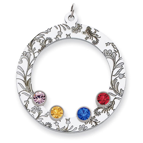 Sterling Silver Floral Circle Family Pendant with 4 Stones