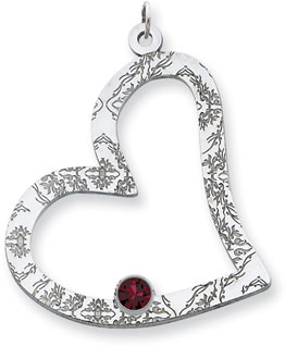 Sterling Silver Floral Heart Family Pendant with 1 Stone