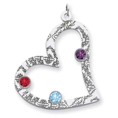 Sterling Silver Floral Heart Family Pendant with 3 Stones