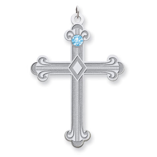 Sterling Silver Fleur De Lis Cross with 1 Stone