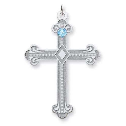 Sterling Silver Fleur De Lis Cross with 1 Stone