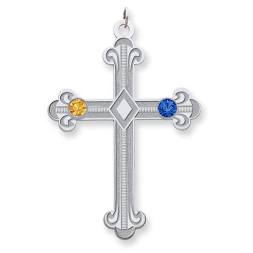 Sterling Silver Fleur De Lis Cross with 2 Stones