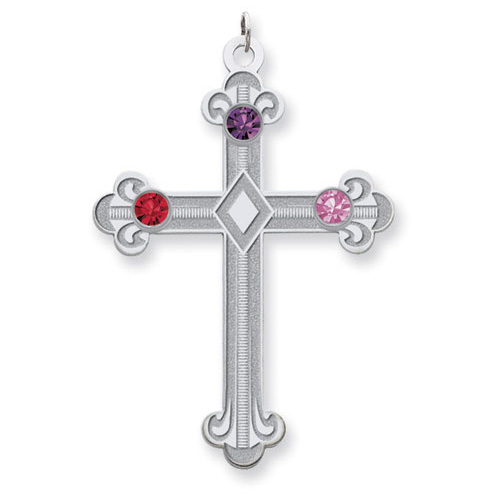 Sterling Silver Fleur De Lis Cross with 3 Stones