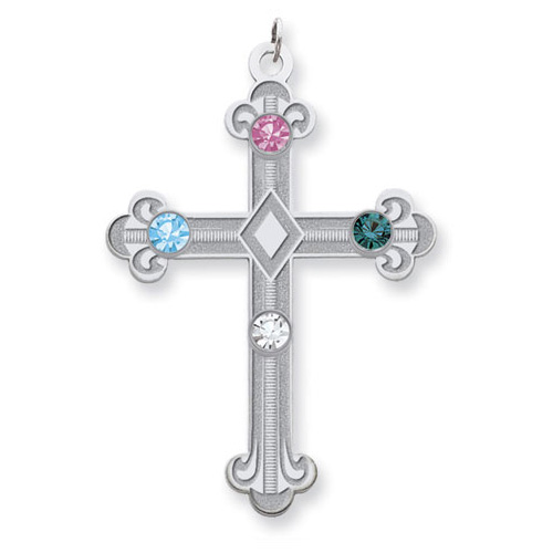 Sterling Silver Fleur De Lis Cross with 4 Stones