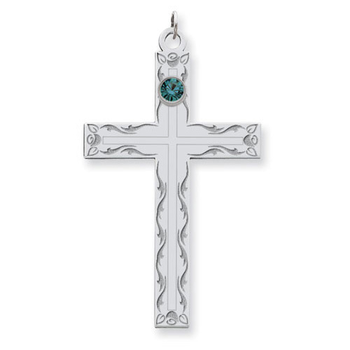Sterling Silver Swirl Cross Family Pendant with 1 Stone