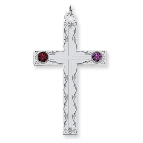 Sterling Silver Swirl Cross Family Pendant with 2 Stones