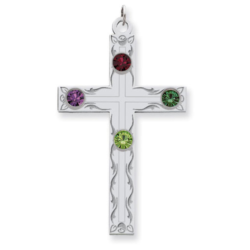 Sterling Silver Swirl Cross Family Pendant with 4 Stones
