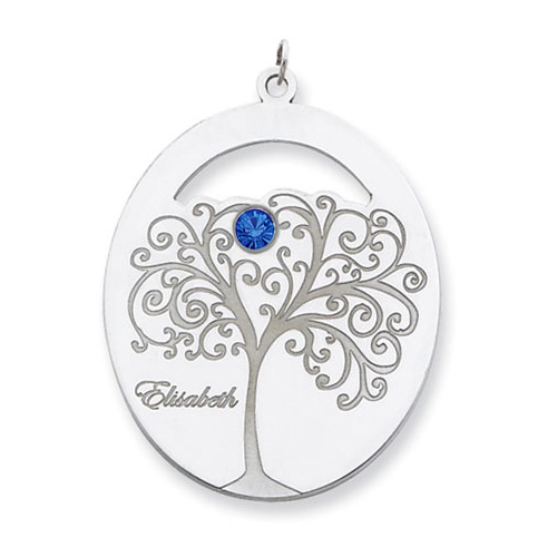 Sterling Silver Oval Family Tree Pendant with 1 Stone