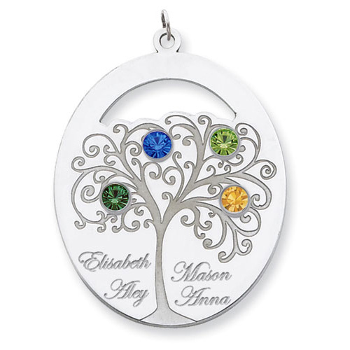 Sterling Silver Oval Family Tree Pendant with Four Stones