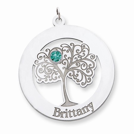 Sterling Silver Family Tree Circle Pendant with 1 Stone