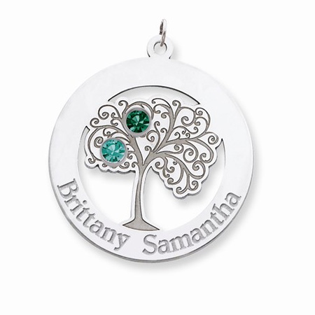 Sterling Silver Family Tree Circle Pendant with 2 Stones