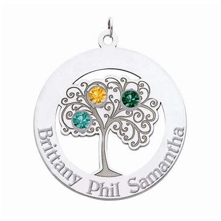 Sterling Silver Family Tree Circle Pendant