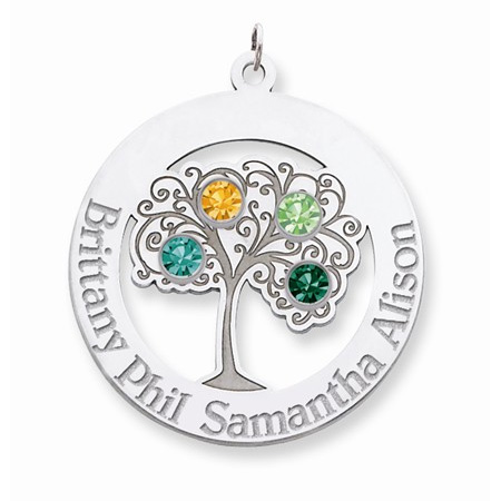 Sterling Silver Family Tree Circle Pendant with 4 Stones