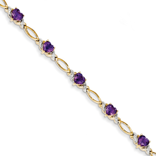 Amethyst Heart Bracelet, 14K Yellow Gold
